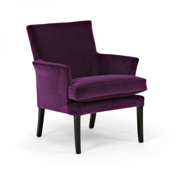 Celina purple armchair with black legs, design Norell Furniture