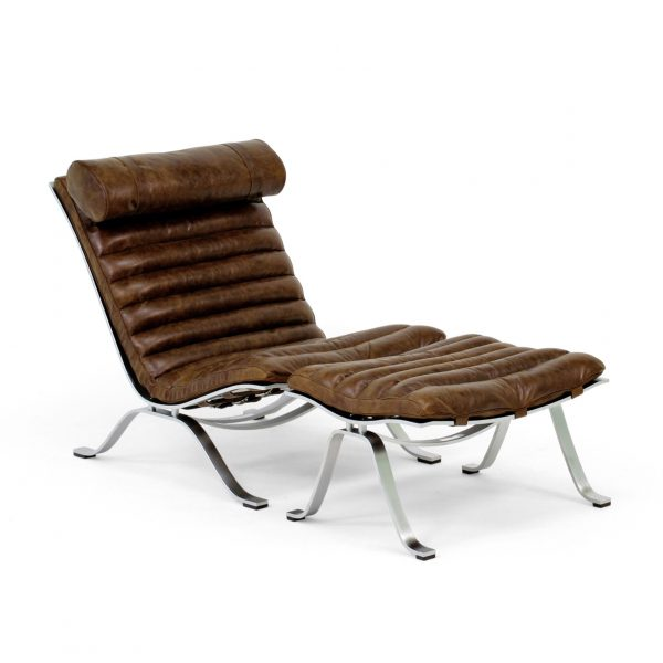 Ari from Norell Furniture in dark brown vintage leather. Design Arne Norell.