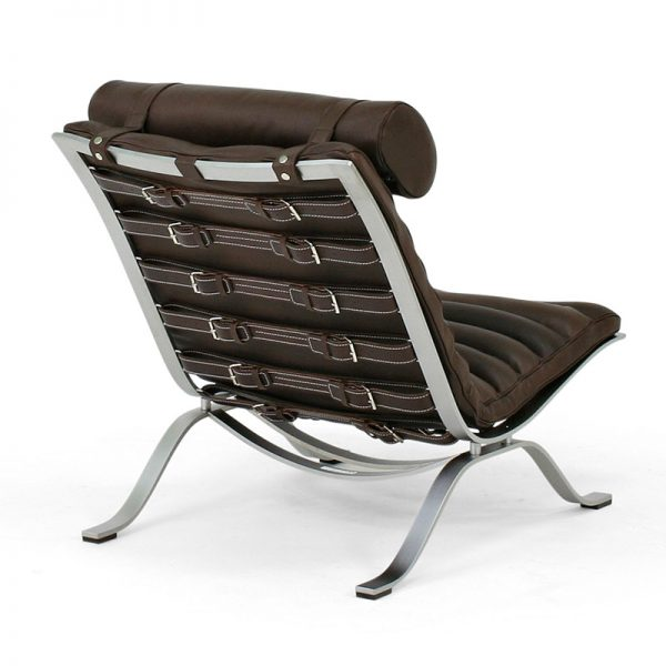 Ari lounge chair dark brown leather design Arne Norell