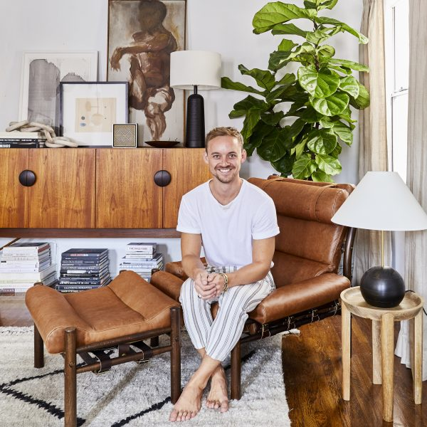 Interior designer Brady Tolbert and his Inca from Norell Furniture, Sweden.
