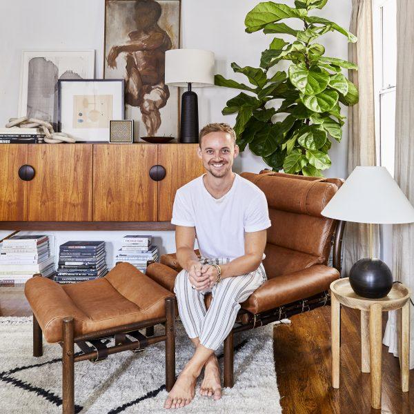 Interior designer Brady Tolbert and his 'Inca' by Norell Furniture www.norellfurniture.com (photo by Sara Ligorria-Tramp)