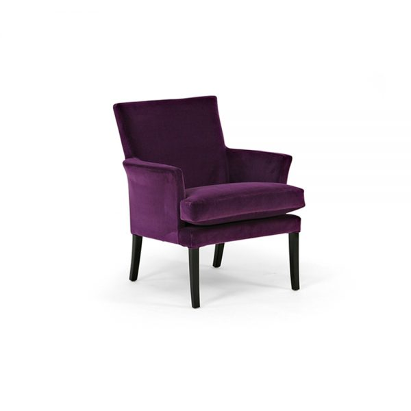 Celina armchair in purple fabric. By Norell Furniture in Sweden.