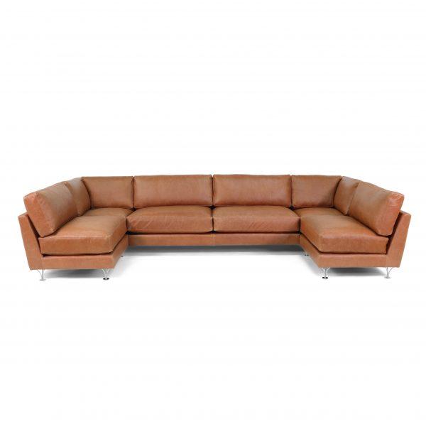 'Deep' U-sofa in Elmo vintage leather. Handmade by Norell Furniture, Sweden
