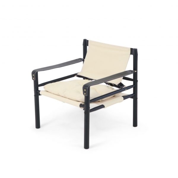 Sirocco chair in bright canvas with black wood stain and black leather details. Made by Norell Furniture, design Arne Norell.