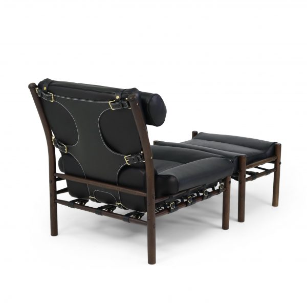 Inca by Norell Furniture, design Arne Norell 1964. Upholstery leather Elmo Rustical 99991 black, support/strap leather Tärnsjö 9308 black, wood stain dark brown 1323