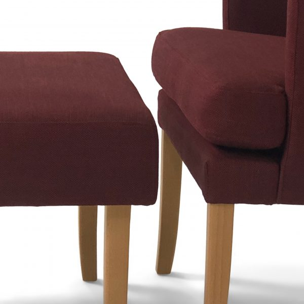 'Celina' chair with ottoman, handmade in Sweden by Norell Furniture.