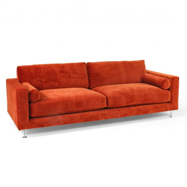 Red 'Deep' sofa by Norell Furniture Sweden.