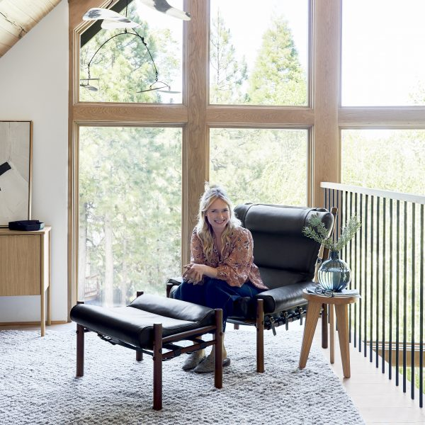 Emily Henderson and her 'Inca' chair by Norell Furniture www.norellfurniture.com (Photo by Sara Ligorria-Tramp)