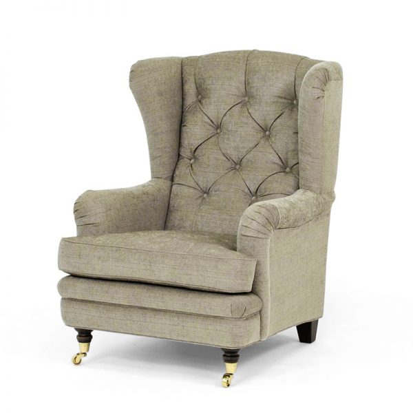 Romeo armchair, with buttons and extra high backrest, Norell Furniture