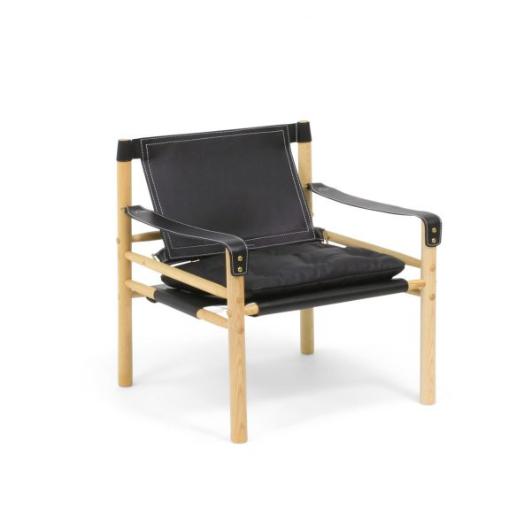 Black leather Sirocco in natural ash wood. Handmade by Norell Furniture. Design by Arne Norell 1964.