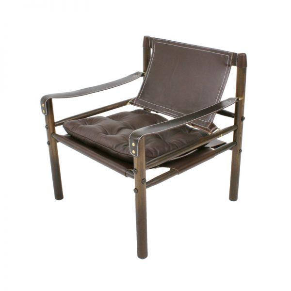 Sirocco safari chair brown leather design Arne Norell