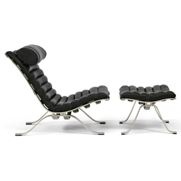 Ari lounge chair black leather design Arne Norell, Sweden
