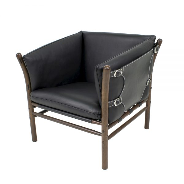 ilona black leather chair. Handcrafted by Norell Furniture in Sweden. Design Arne Norell.