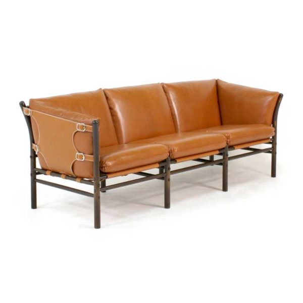 Ilona couch and sofa in cognac leather design Arne Norell
