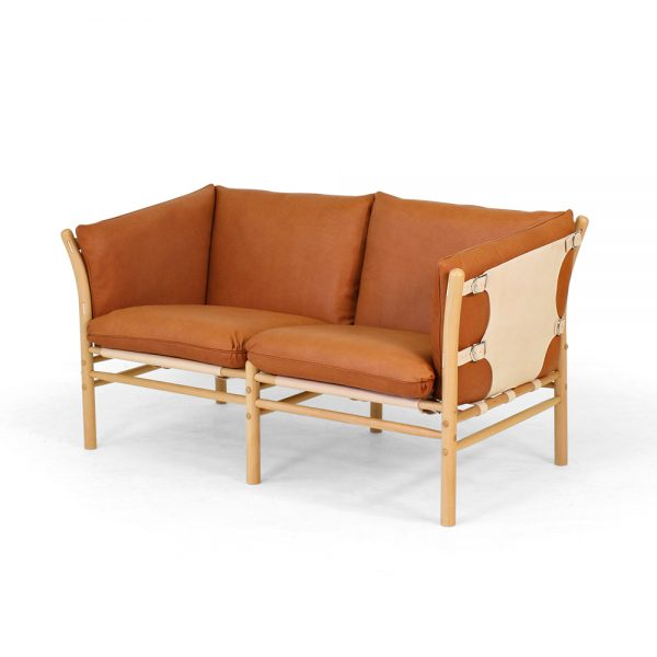 Ilona 2-seater by Norell Furniture. Upholstery leather 8695wild nature, Support leather 9300 nature, Stained wood natural beech.