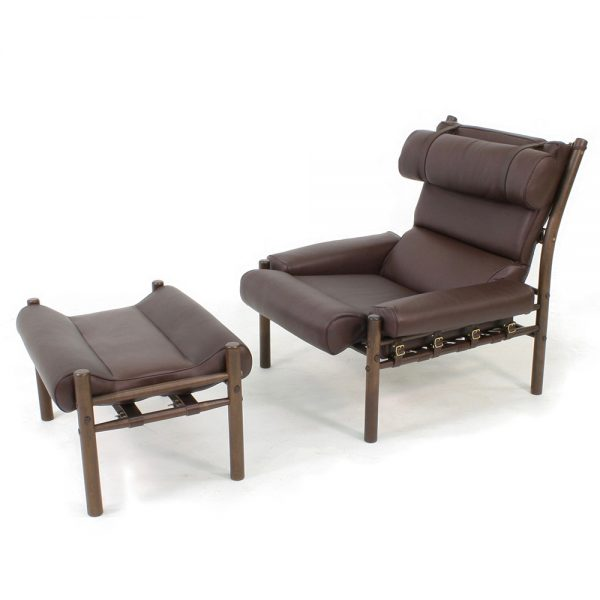 Inca chair by Norell Furniture. Design Arne Norell. Upholstery leather 93287 dark brown, support leather 9368 dark brown, stained wood dark brown 1323.
