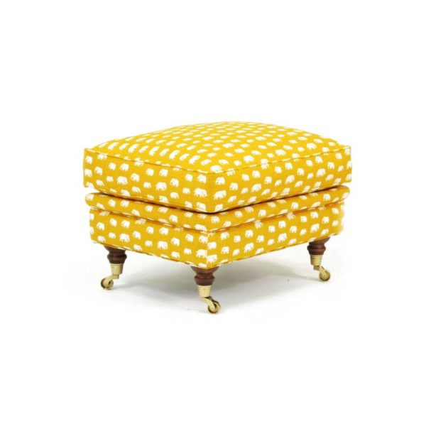 Romeo & Julia footstool by Norell Furniture, fabric Josef Frank