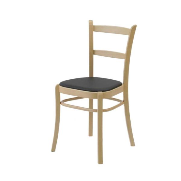 Paris wooden chair with black leather seat, design Norell Furniture Sweden