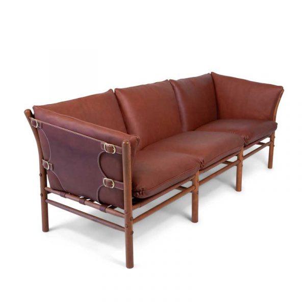 Ilona 3-seat sofa, brown leather, brass buckles
