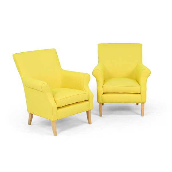 Leo yellow armcahir by Norell Furniture Sweden