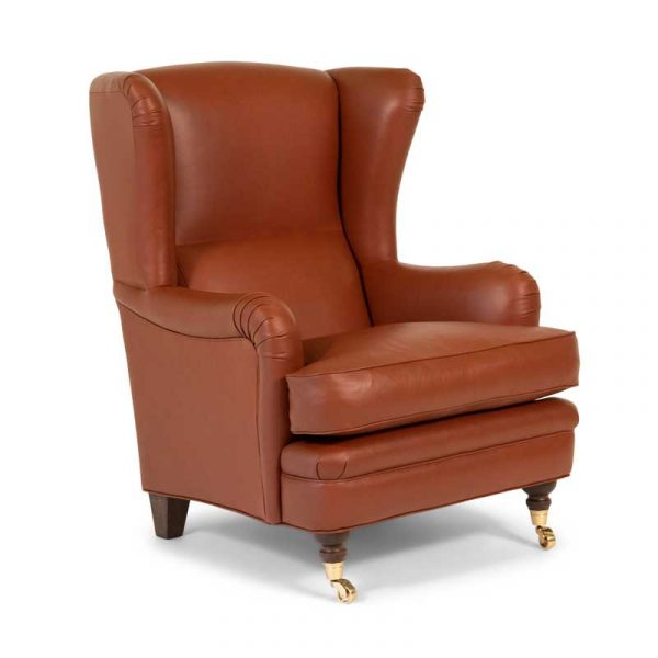 Romeo armchair with high backrest, brown leather, brass wheels
