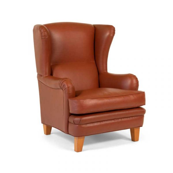 Romeo armchair with high backrest, brown leather, straight legs
