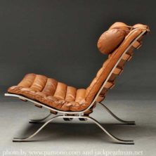 Ari lounge chair brown leather design Arne Norell for Norell Furniture