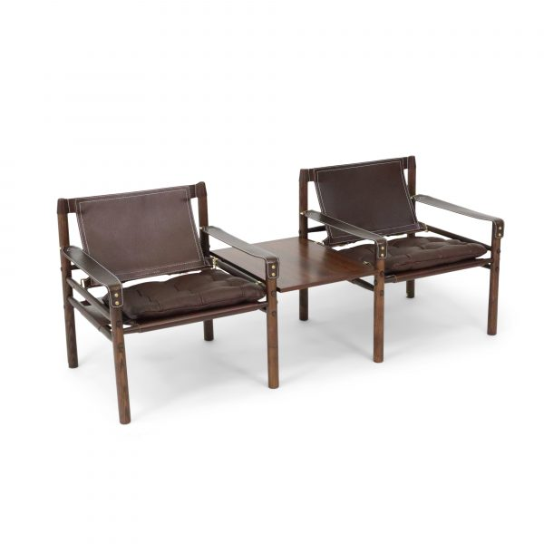Sirocco with table in dark brown wood stain and dark brown leather. Made by Norell furniture Sweden.