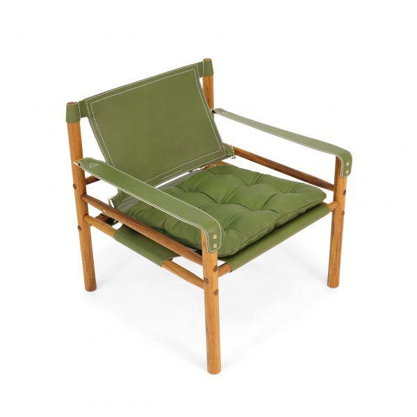 Sirocco in olive green leather from Tärnsjö, specially made for Norell Furniture. Design: Arne Norell 1964.