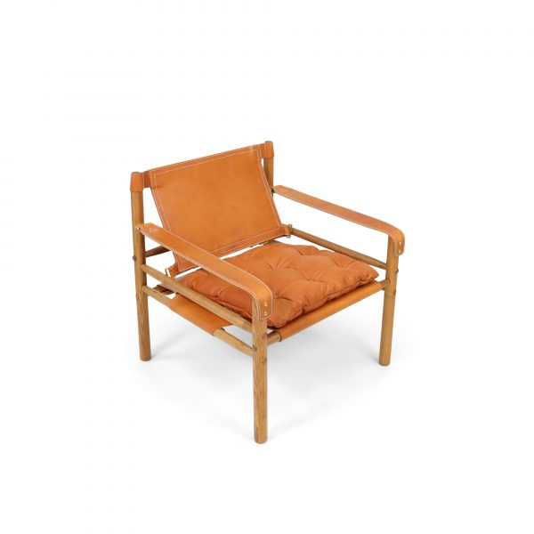 sirocco safari chair Arne Norell cognac leather vintage handmade in Sweden