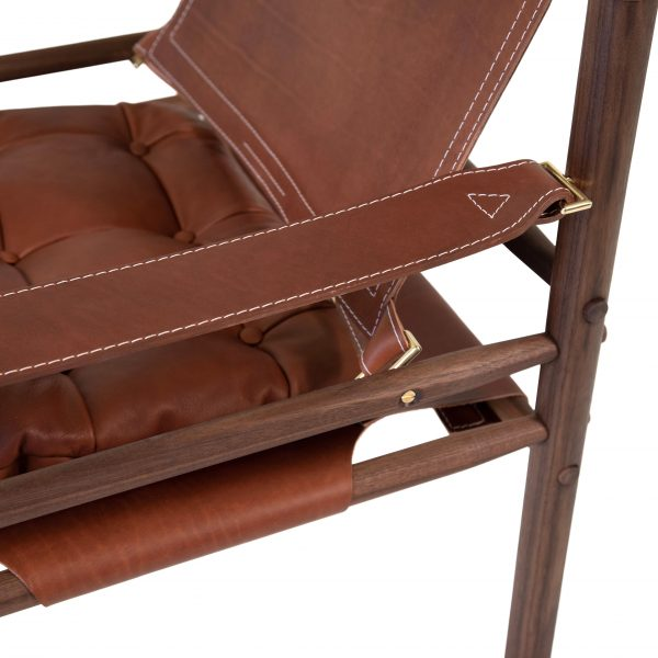 Sirocco in medium brown leather and solid oiled walnut.