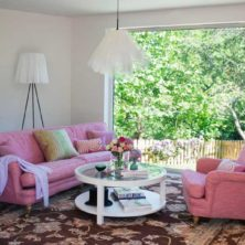 Julia pink sofa and armchair by Norell Furniture in Sweden
