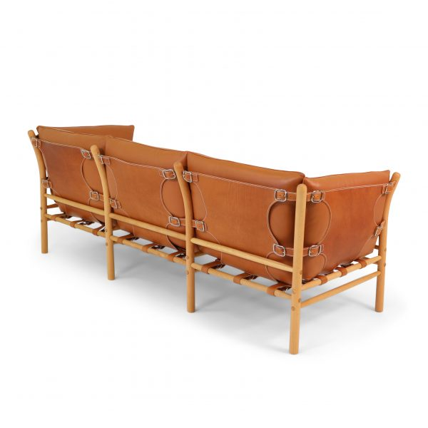 Ilona 3-seater in support leather Shoulder Whiskey, upholstery leather Elmotique 43807. Design: Arne Norell 1971