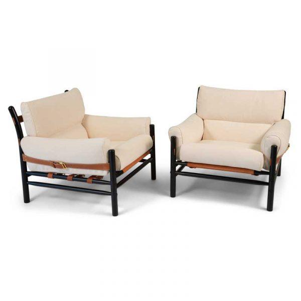 Kontiki armchairs, white leather, black frame